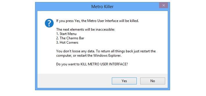 Dezactivare Metro UI și Charms Bar în Windows 8
