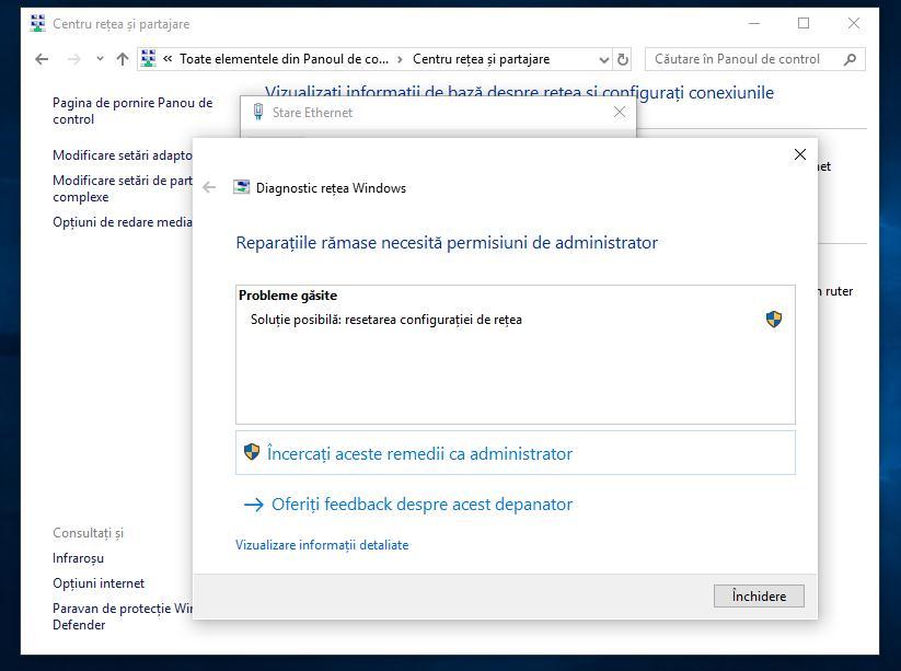 Diagnosticare rețea Windows