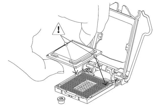 săgeata mică situată pe marginea procesorului
