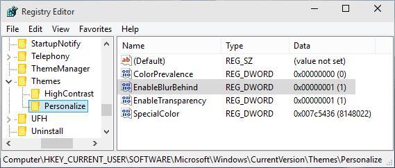 transparenta in Windows-10-din-regedit