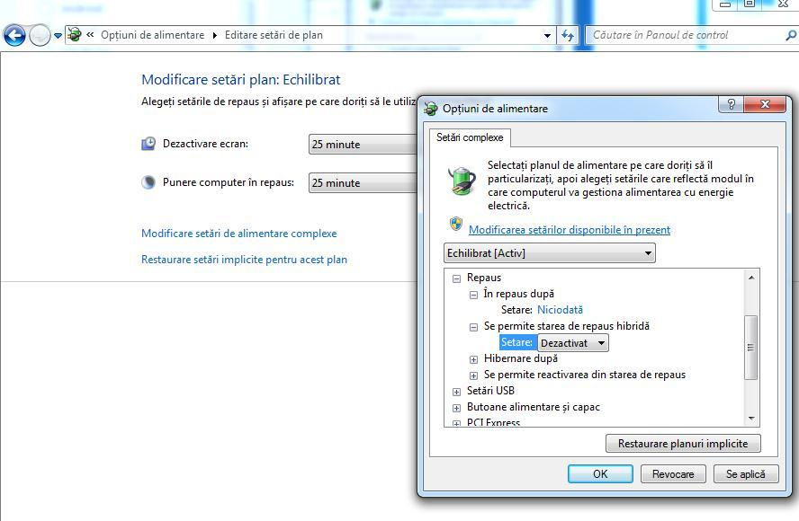 Activare hibernare Windows 7