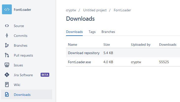 Download FontLoader program pentru instalare fonturi temporar in windows