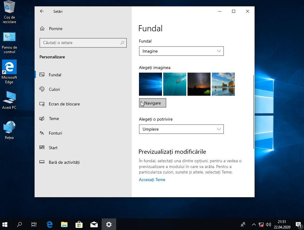 Schimbare imagine de fundal Windows 10