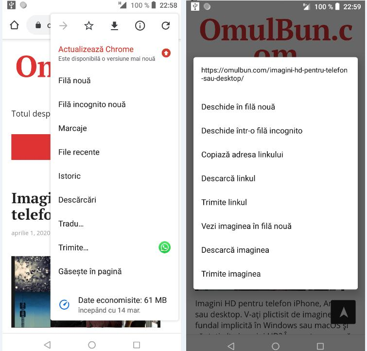utilizarea browserului de pe Android