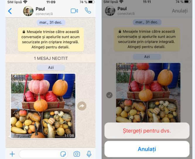 Ștergere poze WhatsApp pe iPhone