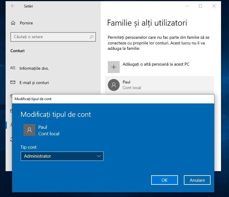 Creare cont administrator Windows 10