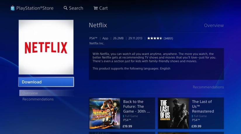 Descarcă Netflix pe PS4 (PlayStation)