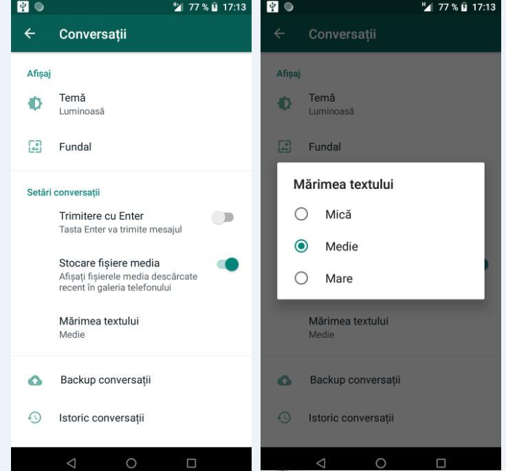 Personalizare WhatsApp pe telefon Android