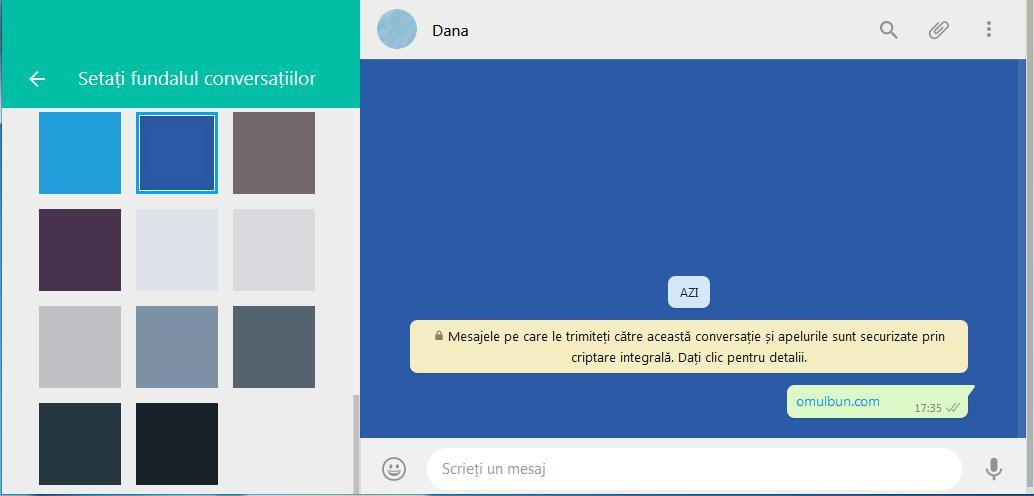 Schimbare imaginea de fundal la WhatsApp pe PC