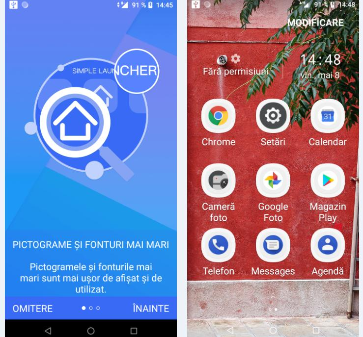 Schimbare pictograme Android