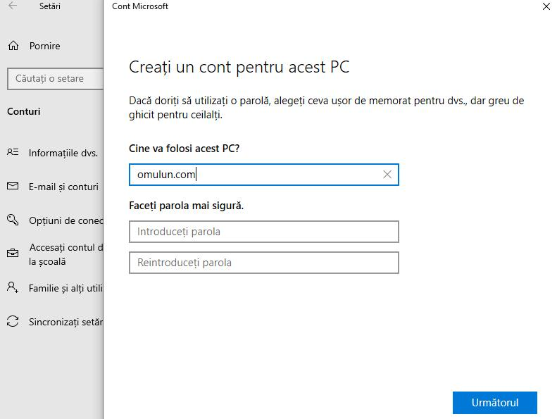 creare cont local în Windows 10