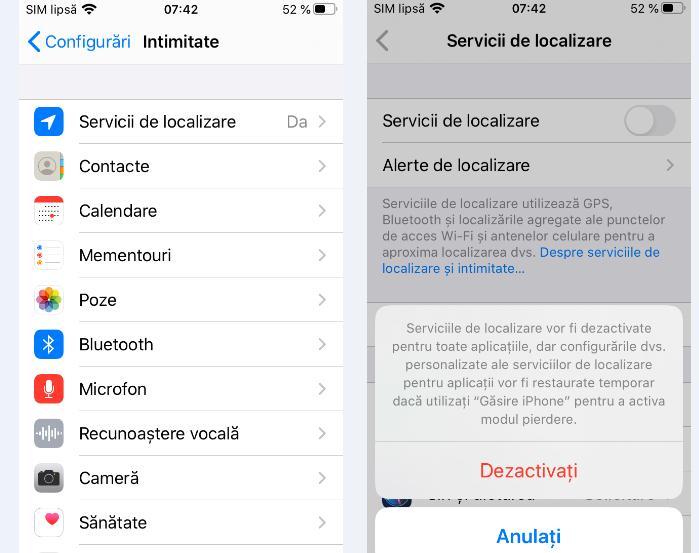 Dezactivare locație iPhone