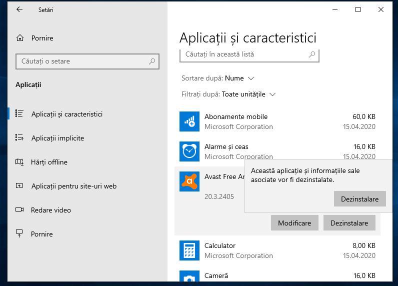 Dezinstalare programe Windows 10