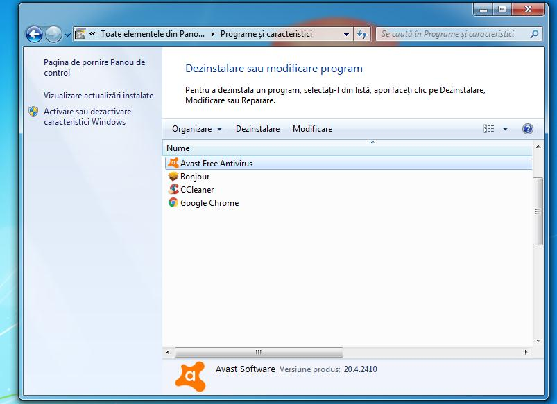 Dezinstalare programe Windows 7