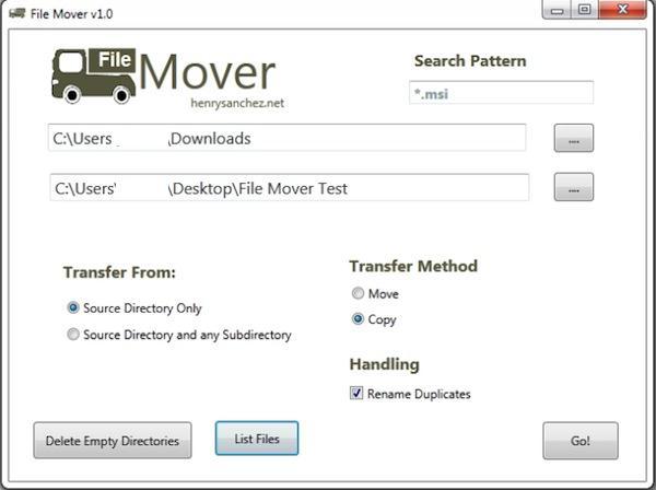 File Mover, mută sau copiază fișiere dintr-un folder în altul