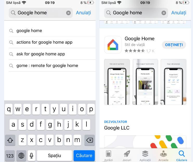 Instalare Google Home pe iPhone