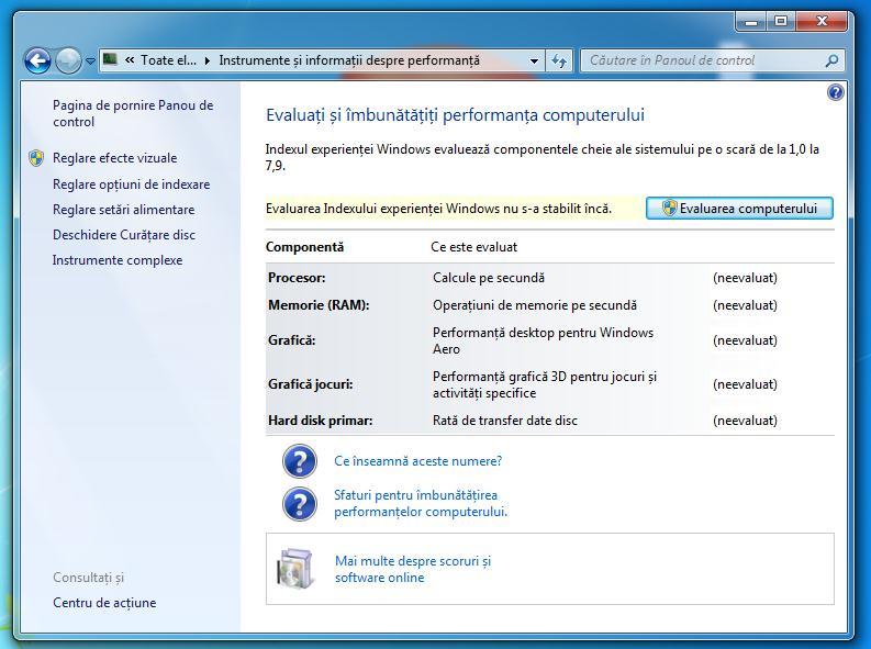 Performanță PC Windows 7