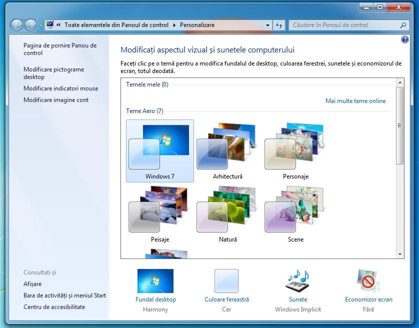 Teme implicite Windows 7