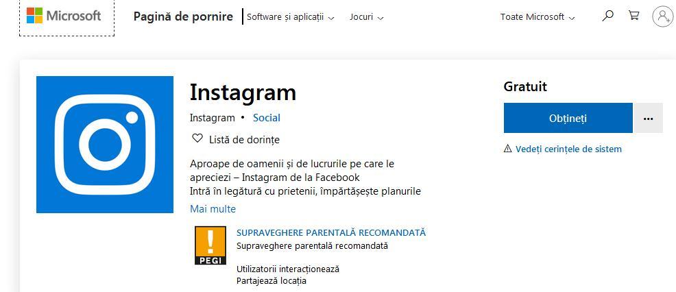 Instagram pentru Windows 10