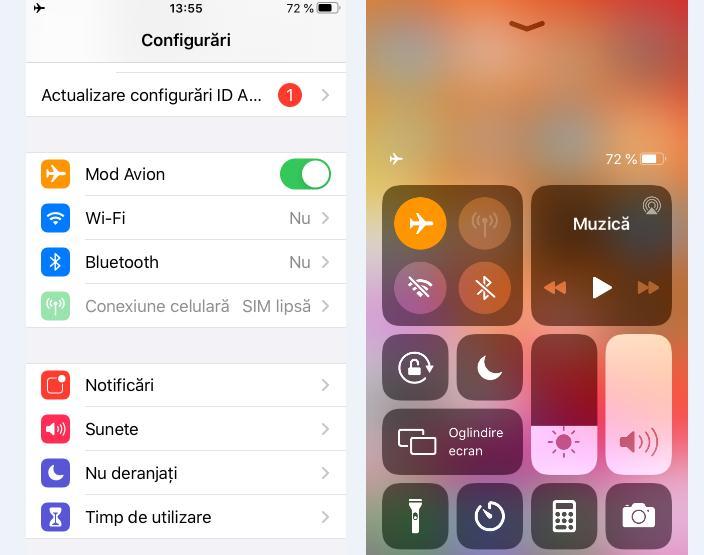 Activează funcția Mod Avion pe iPhone