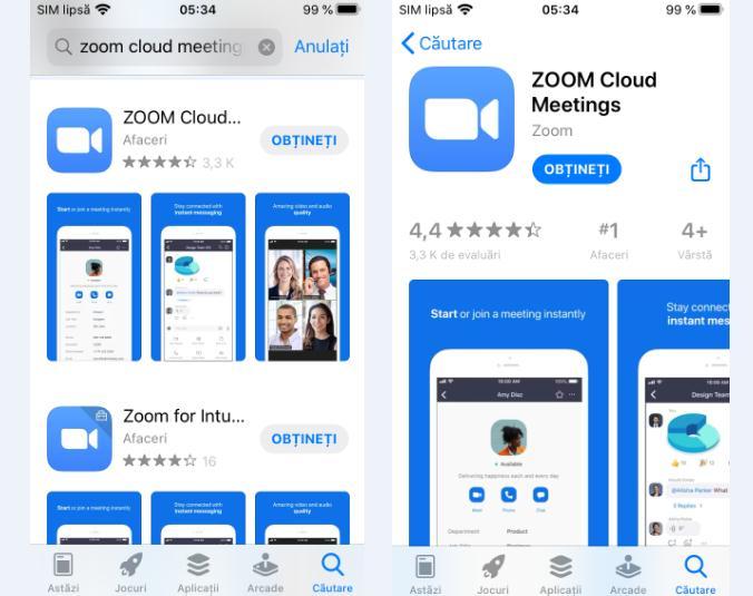 Descarcă aplicația Zoom dar nu în română pe iPhone sau iPad