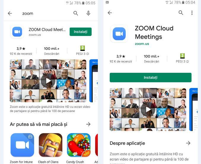 Instalare aplicația Zoom pe telefon Android din Magazin Play