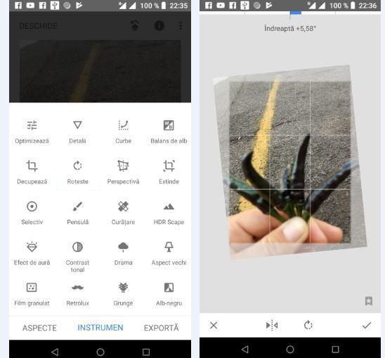 cum modifici dimensiunea la poze cu Snapseed