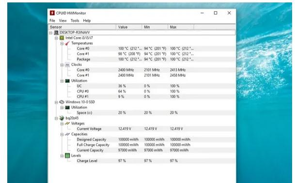programe temperatura procesor HWMonitor