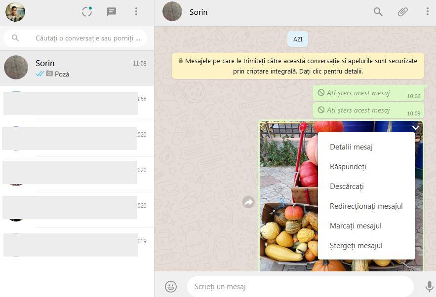 stergerea mesajelor whatsapp pe calculator