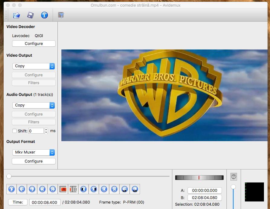 viteza de redare la un video cu Avidemux