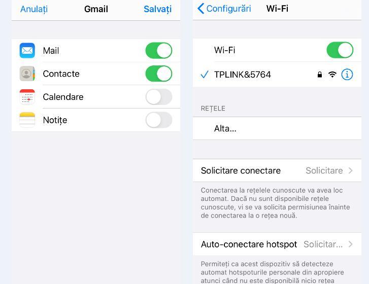 Configurări WiFi pe iOS