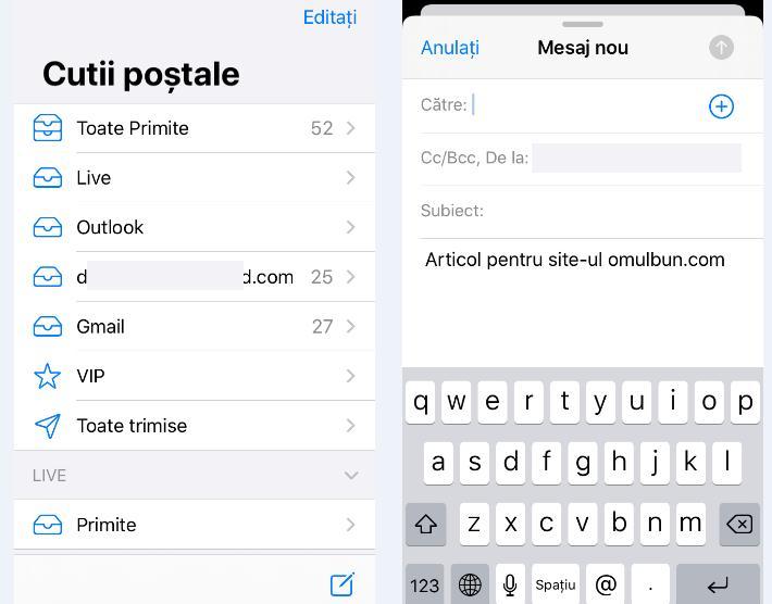 Cum se trimite e-mail de pe iPhone