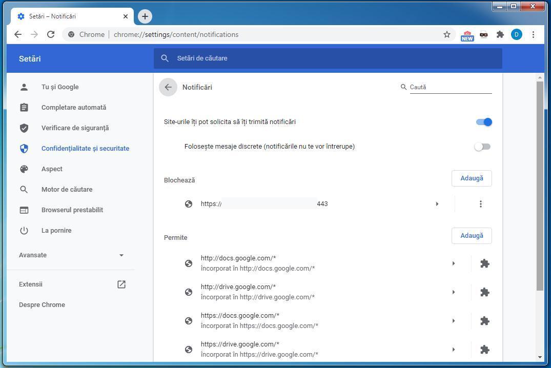 Dezactivare notificări la site-uri Google Chrome