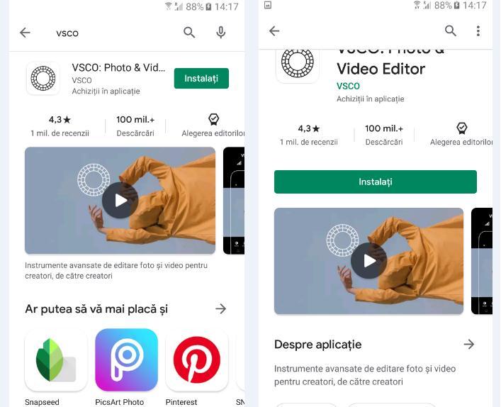 Modificare poze cu aplicația VSCO pe Android