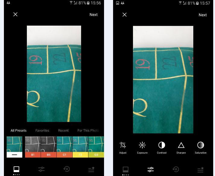Modul de modificare poze cu aplicația VSCO