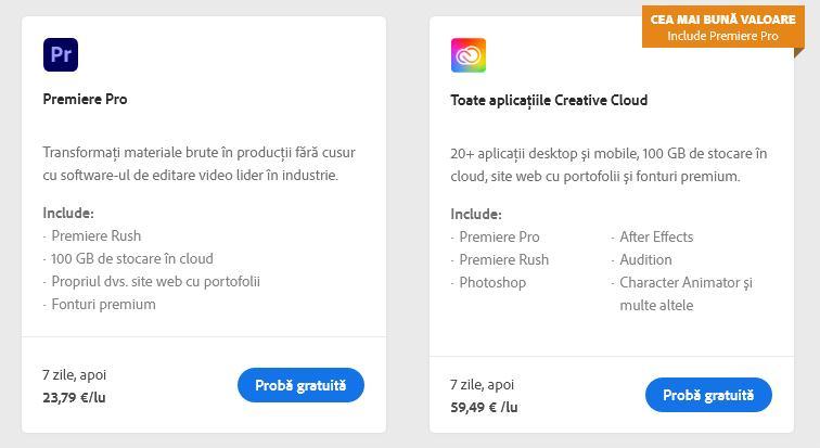 Prețurile la abonamente Adobe Premiere Pro