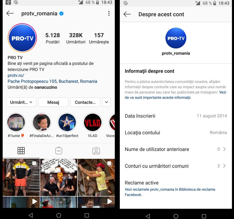 profilul altcuiva de Instagram
