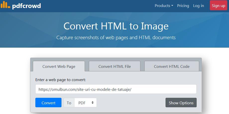 Program de transformat pagini web în PDF