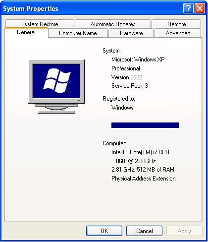 Unde văd câți biți are Windows XP