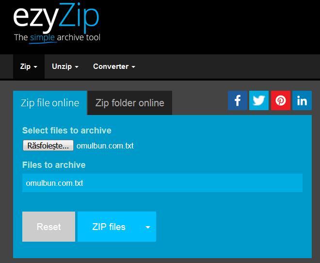 cum arhivezi documente online cu EzyZip