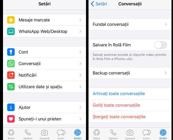 Dezactivare salvare poze WhatsApp pe iPhone