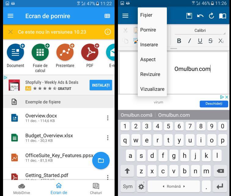OfficeSuite pentru telefon Android