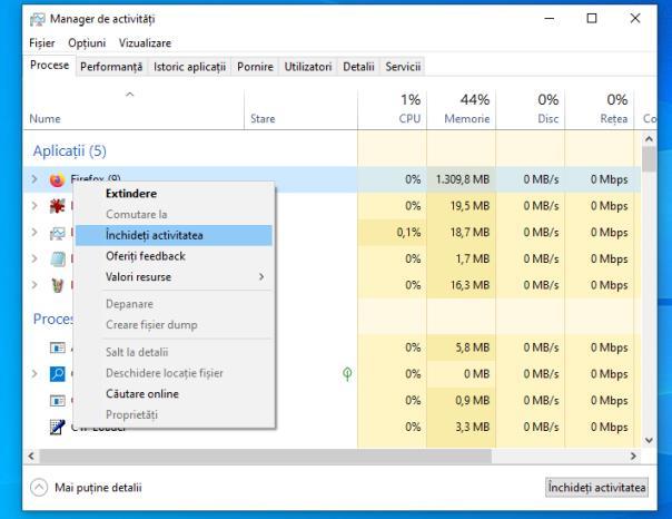 Închidere procese Windows 10
