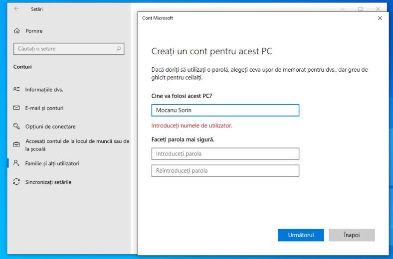 Utilizator nou Windows 10