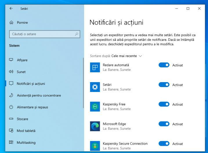 Dezactivare notificări Windows 10