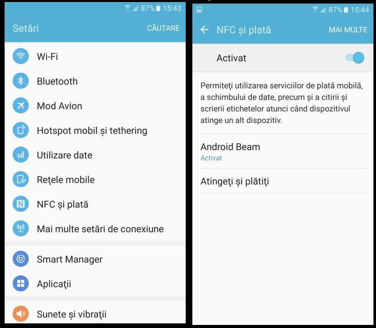 Care este modul de activare NFC pe telefon Samsung