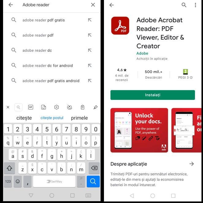 Download aplicația Acrobat
