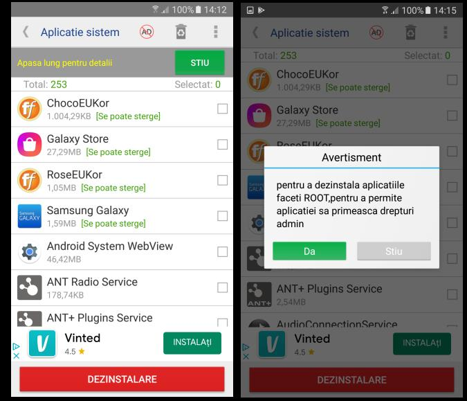 Dezinstalare aplicații preinstalate Android
