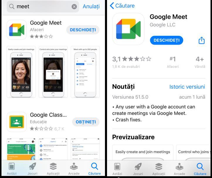 Actualizare aplicația Google Meet pe iPhone