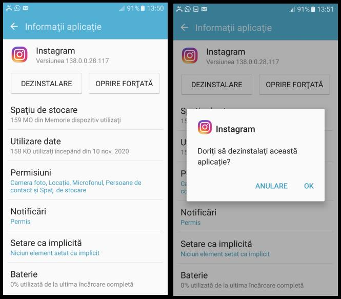 Dezinstalare aplicații Android